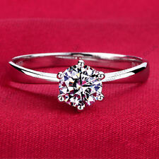 1ct 6mm Cubic Zirconia SOLITAIRE PROMISE/ ENGAGEMENT RING Silver Plate