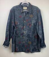 Robert Graham Men's 2XL Tailored Fit Floral Blue Flip Cuff Button-Up Shirt EUC
