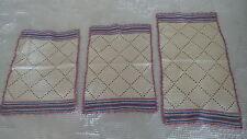 Vintage 3-Piece Crocheted Doily Set Rectangle,Blue & Mauve Edge Trim,Diamond