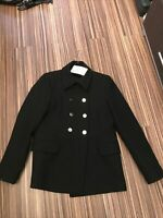 SALE £25 ~ BNWT ZARA Bloggers  Black Pea Coat With Gold Buttons ~MED~£59~UK10