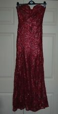 NEW TFNC S or M Red Heavenly Sequin Covered Lace Maxi Dress Fishtail Mermaid Hem