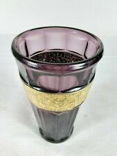 Vase violett mit Goldfries. wohl Firma Walther. um 1920/30. 17cm hoch