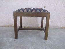 antique Chippendale salesman sample doll foot stool Ottoman bench flame stitch