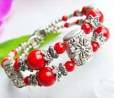Good Luck Tibetan Silver Coral Red Adjustable Bracelet Birthday Gift Women Wife