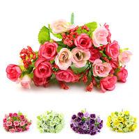 21 Head Artifical Plastic Rose Silk Flower Wedding Bouquet Office Home Decor Bs