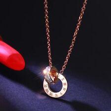 Rose Gold Roman Numerals Square Cz Double Loops Women's Titanium Steel Necklace