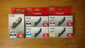 Any 1x ORIGINAL CANON genuine PG 670XL BK CLI 671XL BK/C/M/Y INK CARTRIDGE Pixma