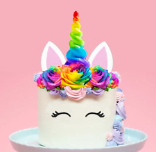 Large Rainbow Unicorn Horn Flowers Edible Wafer Cake Topper Decoration DIY #145
