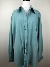 Denim & Co Womens Shirt Suede Style Blouse Sage Green Size Large