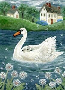 ACEO original miniature art painting birds wildlife swans babies pond dandelions
