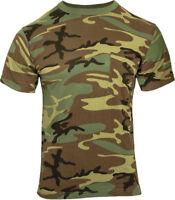 Woodland Camouflage Short Sleeve Military T-Shirt with Pocket