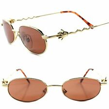 True Vintage Old Funky Funny Mens Womens Gold Round Oval Sunglasses