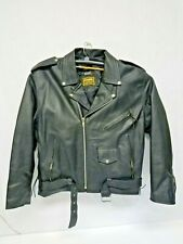 Vintage Leather Mens Motorcycle Jacket Chaps Vest Black Size XL Free Shipping