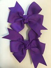 "2 Purple Pinwheel  Bows 3"" Infant Baby Girl Pig-tails"