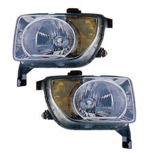 2007-2008 Honda Element Driver & Passenger Headlights Lamps Assembly Pair Set
