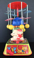 Vintage Wind Up Toy  Celluloid & Tin Litho Musical Merry Go Round Works