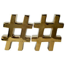Urban Vogue Hashtags Bookend Gold Pair - Kih1041