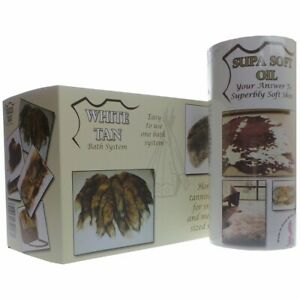 White Tan Bath Tanning Kit with Supa Soft Oil for Rabbit, Fox, Deer Skins + More