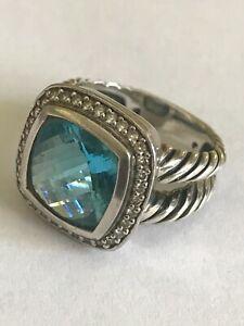 David Yurman Sterling London Blue Topaz Cable Ring, Size 6
