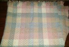 Vintage Pendleton Pink Blue White Plaid 100% Virgin Wool 45 x 62 In Plus Fringe