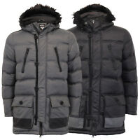Mens Parka Jacket Brave Soul Long Coat Hoodie Padded CAMPBELL Quilted Winter