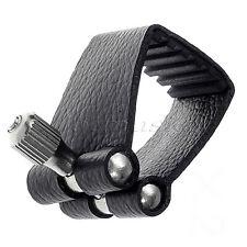 Ligadura de alta calidad de cuero Negro para boquilla de saxofón soprano