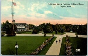 "Dayton, Ohio Postcard ""Hotel & Lawn, National Military Home"" c1910s Unused"