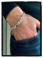 Bracelet Gourmette diamantée Maille Plate 8MM X 21 CM En Argent Massif 925/1000