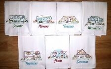 CAMPING DAYS OF THE WEEK EMBROIDERED FLOUR SACK DISH TOWELS