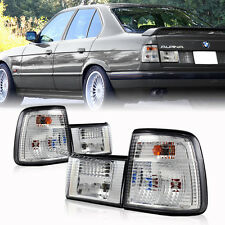 Clear Lens Chrome Housing Tail Lights Set Pair For 1989-1994 BMW E34 5-Series