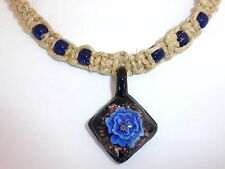 NEW Handmade Natural Hemp Rope Necklace Black Glass Square Blue Flower Choker