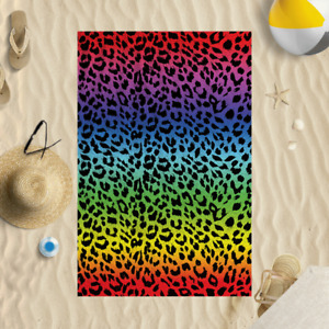"58x39"" Animal Leopard Print Dark Microfibre Beach Towel Summer Holiday Gift"