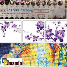 "New Stamped Cross Stitch Kit ""Purple Flowers"" 13""x13"" x3 printed design"
