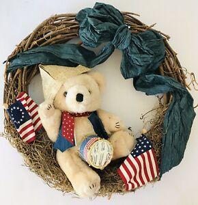 "July 4 Grapevine Wreath Teddy Bear w/ Paper Hat Drum Flags Blue Bow 16"""