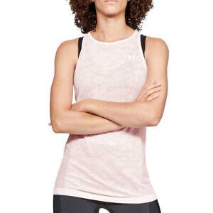 Under Armour UA HeatGear Seamless Vanish Mesh Tank Soft Pink Running Vest M