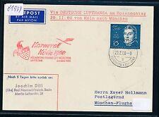 81979) LH SF CARNEVALE Colonia-monaco 29.2.60, cartina con EF 15pf Spohr mi.316