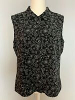 Kathy Ireland Womens Button Down Top Blouse Size XL Black Floral Sleeveless