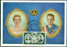 THREE postcards 1956 Royal Wedding Monaco princess GRACE KELLY ~real stamps~