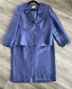 Ladies VIYELLA Two Piece Skirt Suit Size 12 Periwinkle Blue Wedding/races