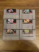 Authentic Lot Of 6 Super Nintendo SNES Games Tetris 2, Hard Ball, NFL Club