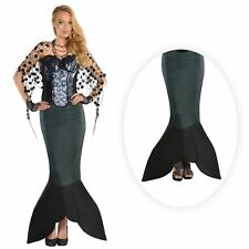 Dark Sea Siren Tail Skirt Ladies Adult Fancy Dress Fin Mermaid Size 8 10 12 14