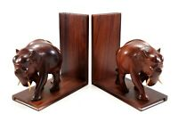 Vintage Hand Carved Solid Teak Wood Pair of Elephant Bookends w/ Bovine Tusks