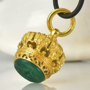 Gold Vermeil Sterling Silver Chalcedony Fob Seal Stamp Crown Pendant 11.62 g