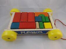 Vintage Playskool Wood Wagon w/ Building Blocks