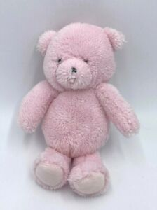 Carters Precious Firsts Solid Light Pink Teddy Bear Plush Gray Embroidered Eyes