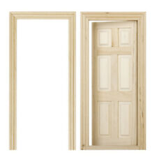 1/12 puertas madera interiores 6 paneles color madera en miniatura casa muneD7C2