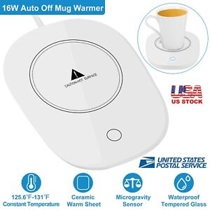 White Coffee Mug Warmer Auto Constant Temperature Cup Warmer Heating Mat Pad for Office Home USB