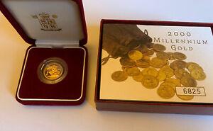 2000 Gold Proof Half Sovereign 3.98g 22ct Millennium - Royal Mint Box + CoA