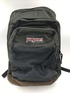 Jansport Bag Back Pack Green Book Bag - Suede Leather bottom - Mesh Cargo