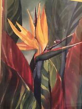 "Bird of Paradise Floral Watercolor Print Janet V Welch Signed & Framed 18""x 24"""